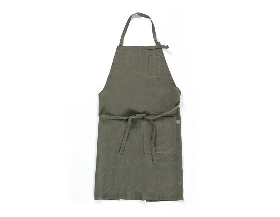 olive green linen apron